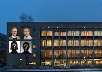 Fasaden på NMH bak portretter av Peter Tornquist og Morten Halle og siluetter med spørsmålstegn.