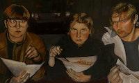 Maleri av Ævestaden: Eir Vatn Strøm, Levina Storåkern og Kenneth Lien som spiser kebab.