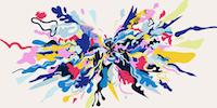 Illustrasjon med masse farger som eksploderer