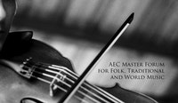 """A fiddle covered by the text """"AEC Master forum for folk, traditional and world music""""."""