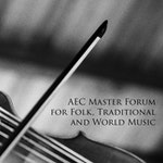 "En fele og en bue dekket av teksten ""AEC Master forum for folk, traditional and world music""."
