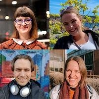 Sammenstilling av portretter av studentassistentene Danielle Price, Elise Sløgedal, Vetle Aakre Laupsa og Marthe Amalie Dalene Wærnes