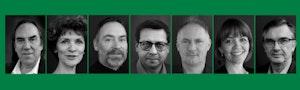 Rekke av svart-hvitt-portretter av fagseksjonslederne 2017-2021 med grønn ramme