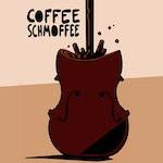Coffe Schmoffee-logoen som er en tegning av en cello-kropp som blir fyllt opp med kaffe.