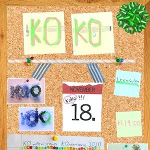 """KOKO-konsertplakat for høsten 2020 med teksten """"KOKO 18. november i Levinsalen klokken 19.00""""."""