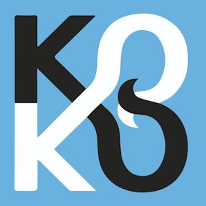 Logoen til Koko som er en K og en O gjentatt to ganger hvor O-ene går inn i hverandre og danner et slags åttetall