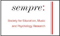Logoen til SEMPRE, Society for Education, Music and Psychology Research. Rød og svart med navnet på organisasjonen.