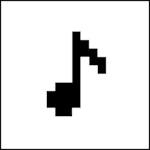 Upolert-logoen, en note som er rufsete i kantene