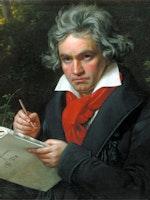 Maleri av Beethoven med noteark