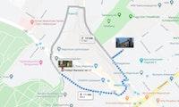 Kart som viser to ruter mellom furuholmengården og NMH.