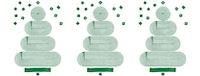 Tre tegninger av juletrær.
