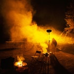 Bål som brenner ute