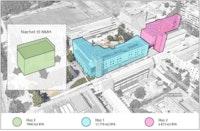 """Et kart hvor Hus 1 og Hus 2 er markert i ulike farger. I venstre hjørne er det tegnet inn et """"Hus 3"""" med overskriften """"Nærhet til NMH""""."""