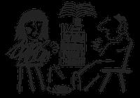Illustrasjon av kvinne med trekkspill og mann i stol