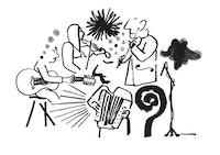 Friberg-illustrasjon hvor to spiller fiolin, en gitar og en trekkspill.