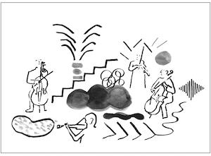 Illustrasjon av mennesker som står i sirkel og spiller strykeinstrumenter