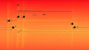 En spektromorfologisk analyse, gjort med auditiv sonologi analyseredskaper og lagt inn i Akusmografen av et elektroakustisk verk av Bernard Parmegiani.