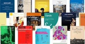 Omslaget til 16 bøker i notehefter i ulike formater og av ulike komponister.