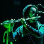 Fløytist med hjelm spiller fløyte i grønt lys på RÅ