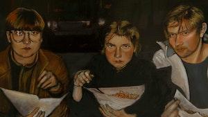 Maleri av bandet Ævestaden som spiser kebab
