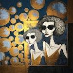Moderne tegning av damer med solbriller