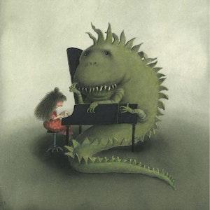 Tegning av dinosaur som spiller flygel