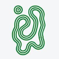 Grønn, abstrakt, svingete illustrasjon med grå bakgrunn.