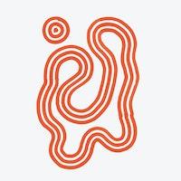 Orange abstrakt, svingete illustrasjon med grå bakgrunn.