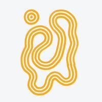 Abstrakt, gul, svingete illustrasjon på grå bakgrunn