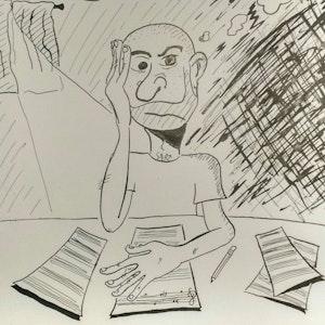 Illustasjon av mann som sitter med hodet i hendene
