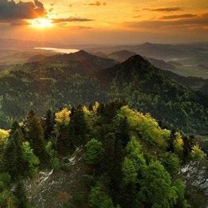 Landskap i solnedgang