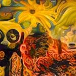 Abstrakt maleri med former og farger vevd inni hverandre.