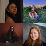 Fire bilder av fire ulike studenter som smiler inn i kameraet. Bildene er satt sammen til ett