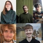 Kollasj av komponistene Martin Langerød, Toralf Nørbech, Mikael Aksnes-Pehrson, Niklas Lindberg og Astrid Solberg