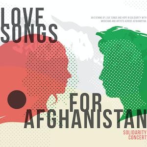 Grafisk profil for Love Songs for Afghanistan, med to profilsilhuetter, grønn og rød, som ser mot hverandre.