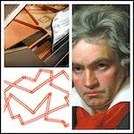 Kollasje med Beethoven, illustrasjon og flygel