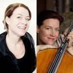 Kollasj med portretter av Berit Cardas og Bjørg Lewis, sistnevnte med cello.