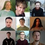 Kollasj av alle medvirkende komponistene til Sonisk hage 2021