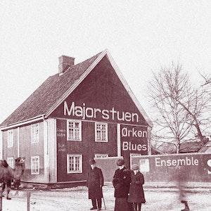 Majorstuen ørkenbluesensemble - skrift på et gammelt hus på Majorstuen
