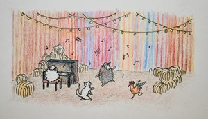 Illustrasjon av Cora Durmann - dyr som danser og spiller musikk