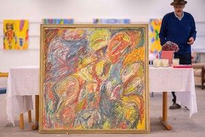 Et abstrakt maleri av Kjell Pahr Iversen.