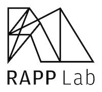 Logoen til RAPP Lab med navnet til prosjektet i tekst og streker som danner noe som ligner en geometisk figur.